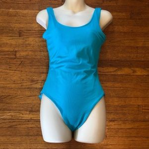Blue Ribbed Swimming Suit Small 4/6
